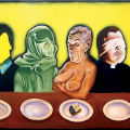 The lost supper, 2003/4. Acrylic on board, 122 x 244 cm