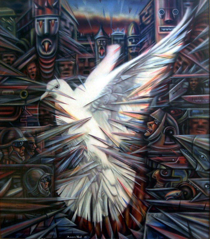<em>Trapped Dove</em>, 1995. Acrylic on board, 75 x 86 cm. Private collection (Photo: D Ward)