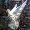 Trapped Dove, 1995. Acrylic on board, 75 x 86 cm. Private collection (Photo: D Ward)