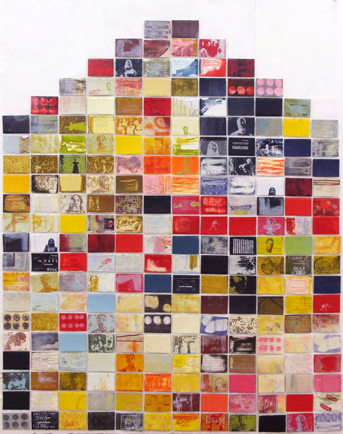 Imbumba Yengceba Zayo (The Sum of Its Part), 2004. Gum transfer print and silkscreen, 207 x 212 cm; Made up of 222 images 15.24 x 10. 16 cm each.