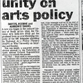 Epochal unity on arts policy, The Star, 8 December 1992