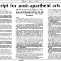 Adele Baleta, New script for post-apartheid arts policy, Argus, 6 November 1992