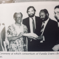 Es'kia Mphahlele with Board members and funders