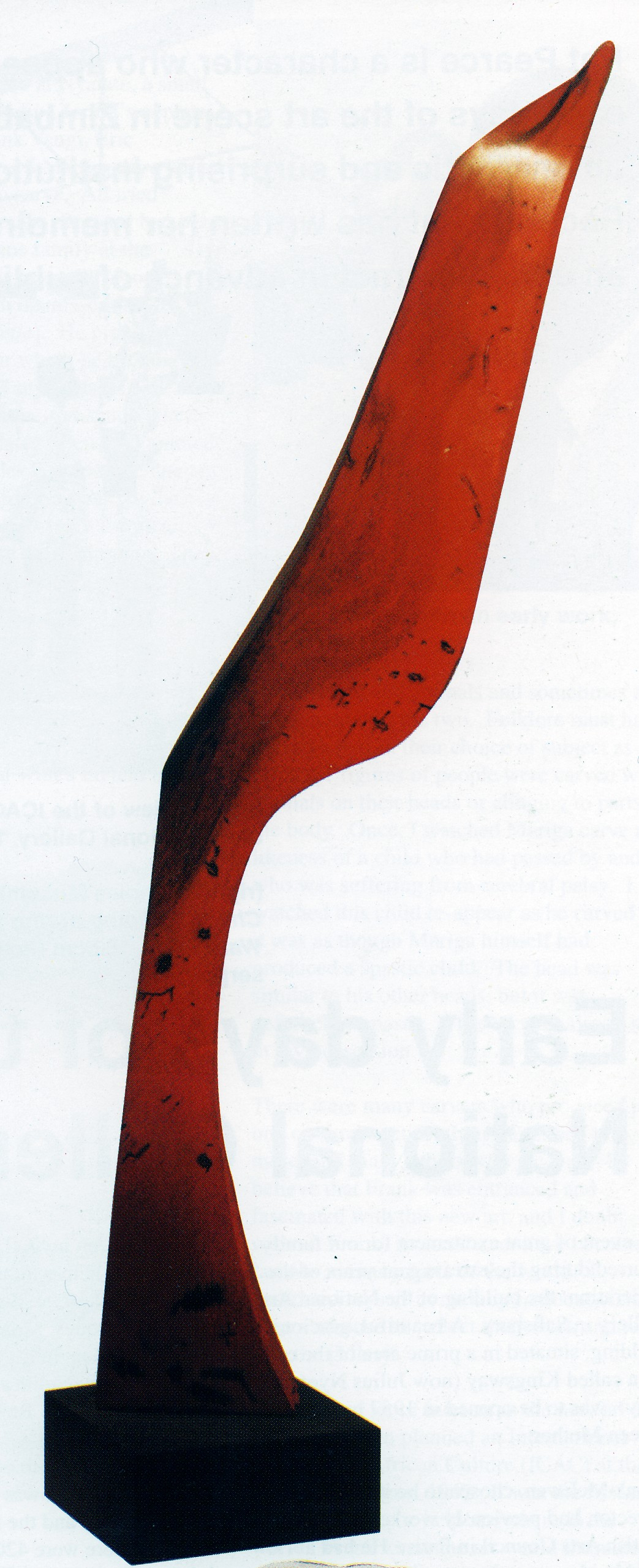 Flame bird, 1997. Wood and aluminium, 75 x 23 x 18 cm (Photo: B, published in Gallery)