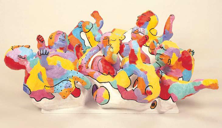 <em>Partouze [Part I of Triptych]</em>. 1998. Wire-mesh, acrylic, plaster & wood. 160x120x120