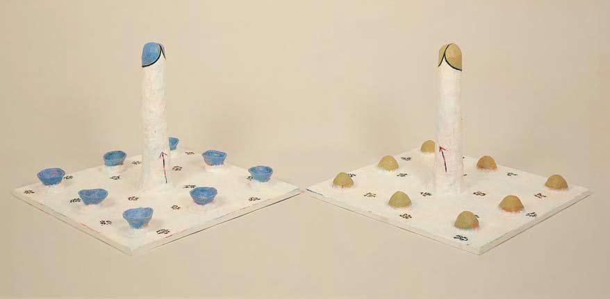 <em>Partouze [Part II & III of Triptych]</em>. 1998. Wire-mesh, acrylic, plaster & wood. 100x100x80cm (x2)