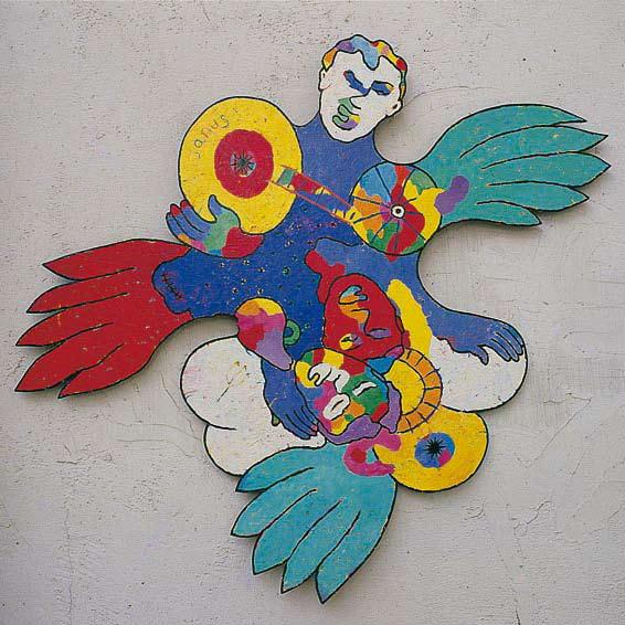 <em>Partouze Volante II</em>. 1999. Acrylic on plywood. 120x130cm