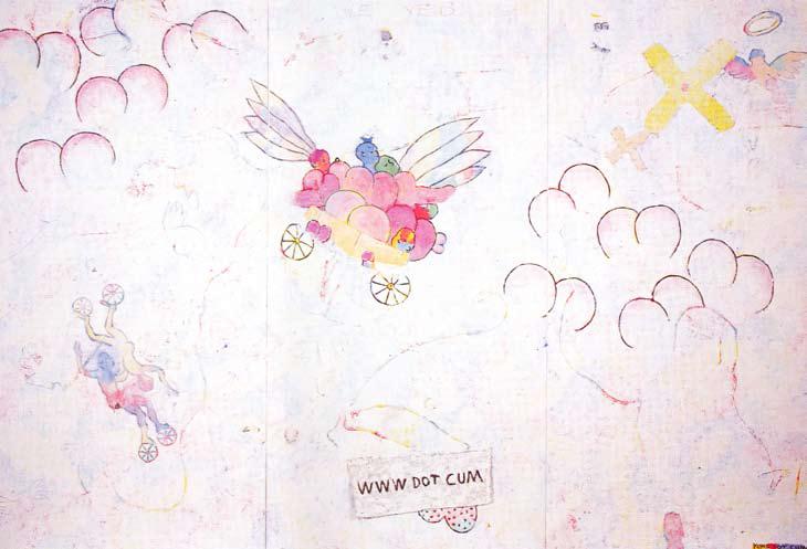 <em>WWW DOT CUM (sensored)</em>. 1999. Mixed-media. 300x200cm