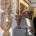 Isaac Nkululeko Makeleni - Posing next to sculpture at The Cape Galler (Photo: Cape Gallery)y