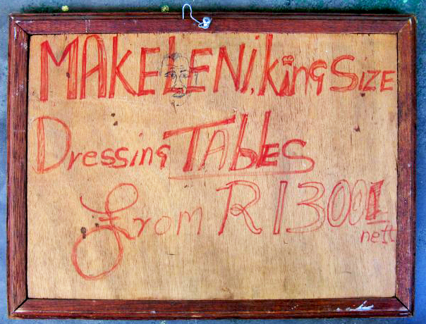 Isaac Nkululeko Makeleni - Remnant of sign, at back of Don't Give Up artwork, probably 1980s (photo: MP)
