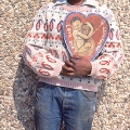 Isaac Nkululeko Makeleni  - Artist posing with his painting Love and Happiness, c. 1992 (Photo: MP)