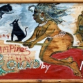Isaac Nkululeko Makeleni - Blood Sucking Vampires. Paint and collage on paper on board, late 1980s/ early 1990s (Collection: M. Pissarra. Photo: MP)