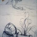 Isaac Nkululeko Makeleni - Untitled drawing of Mandla Nongogo at Zolani Centre workshop. 1992). Presumed lost. Photo: MP)