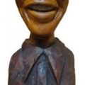 Isaac Nkululeko Makeleni - Nelson Mandela (Nobel laureate series). Wood, 2007 (Collection: M. Makeleni. Photo: Cape Gallery)