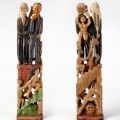 Title not known (Mandela and de Klerk), c. 1990. Industrial pine, paint, 76 x 18 x 7 cm (Collection: Private, Cape Town. Photo: C. Beyer