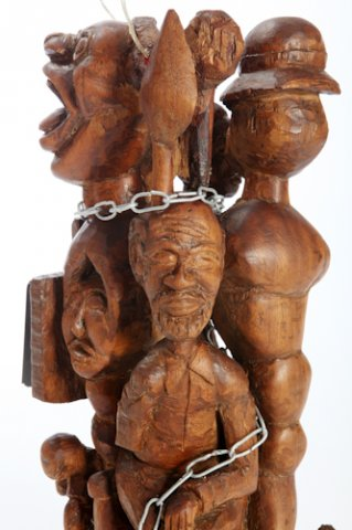 Permitted in the Pre-described Area of the Cape Peninsula Divisional Council of the Cape, 2007. Industrial pine, metal, plastic, 71 x 20 x 22 cm (Collection: M. Makeleni. Photo: C. Beyer