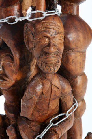 Isaac Nkululeko Makeleni - Permitted in the Pre-described Area of the Cape Peninsula Divisional Council of the Cape. Industrial pine, metal, plastic, 71 x 20 x 22 cm, 2007 (Collection: M. Makeleni. Photo: C. Beyer