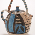 <em>Teapot for Nukain</em>, 2000. Earthenware and telephone wire, 23 x 21 cm (Image courtesy of DAG)