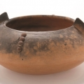 <em>Bowl with bat ears</em>, 2006. Smoked terracotta and tacks, 9 x 16.6 cm (Image courtesy of DAG)