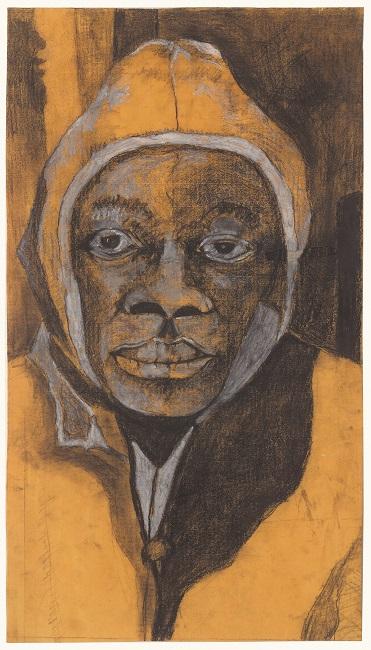 <em>Skom Boy</em>, 2012. Charcoal and chalk on paper, 63 x 36 cm (Image courtesy of DAG)