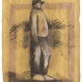 <em>Onlooker</em>, 2010. Charcoal and chalk with spray paint on paper, 58 x 40.5 cm (Image courtesy of DAG)