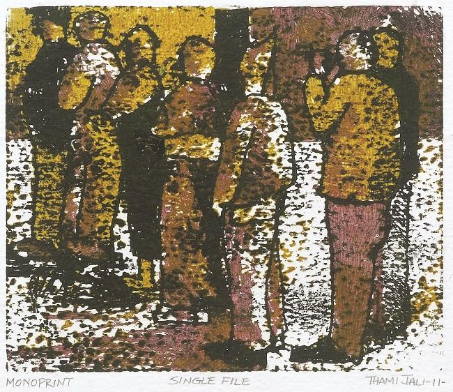 <em>Single File</em>, 2011. Monoprint on paper, 15.5 x 18.5 cm (Image courtesy of DAG)