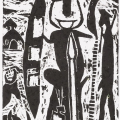 <em>The Zulu Warrior</em>, 2012. Wood cut on paper, 24.5 x 16 cm (Image courtesy of DAG)