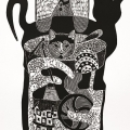 em>Dumi Mabaso 'Cat with Many Lives'</em>, 2013. Linocut, 64.7 x 48 cm (Image courtesy of DAG)
