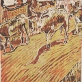 <em>Street Cattle I</em>, 1983. Linocut on paper, 18.5 x 15.5 cm (Image courtesy of DAG)