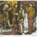 <em>Single File</em>, 2011. Monoprint on paper, 15.5 x 18.5 cm (Image courtesy of DAG)