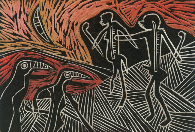 <em>Moon Dance (Song of Msinga Series)</em>, 2012. Wood panel, 19 x 28 cm (Image courtesy of DAG)