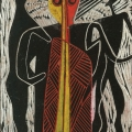 <em>Zulu Maiden and her Suitors (Song of Msinga Series)</em>, 2012. Wood panel, 28 x 19 cm (Image courtesy of DAG)