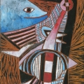 <em>Going Fishing (Song of Msinga Series)</em>, 2012. Wood panel, 28 x 19 cm (Image courtesy of DAG)
