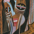 <em>Young Boy's Dream (Song of Msinga Series)</em>, 2012. Wood panel, 28 x 19 cm (Image courtesy of DAG)