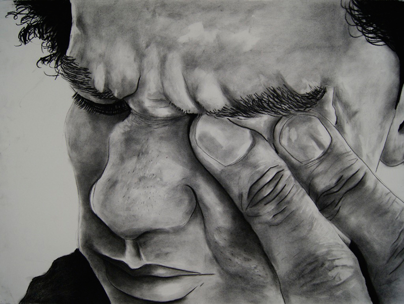 Self Portrait, 2009. Charcoal on fabriano, 100 x 70 cm