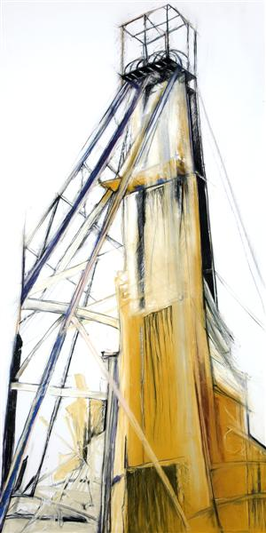 Headgear: Gold shaft, 2008. Mixed media on cotton rag archival paper, 245 x 125 cm