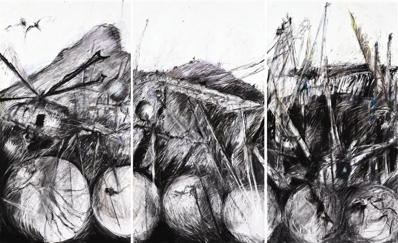 Cape Town industrial landscape, 2009. Triptych, mixed media on cotton rag archival paper, 250 cm x 150 cm