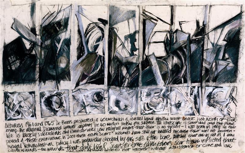Earthscars: Text response, 2004. Mixed media drawing on cotton paper, 110 x 69 cm