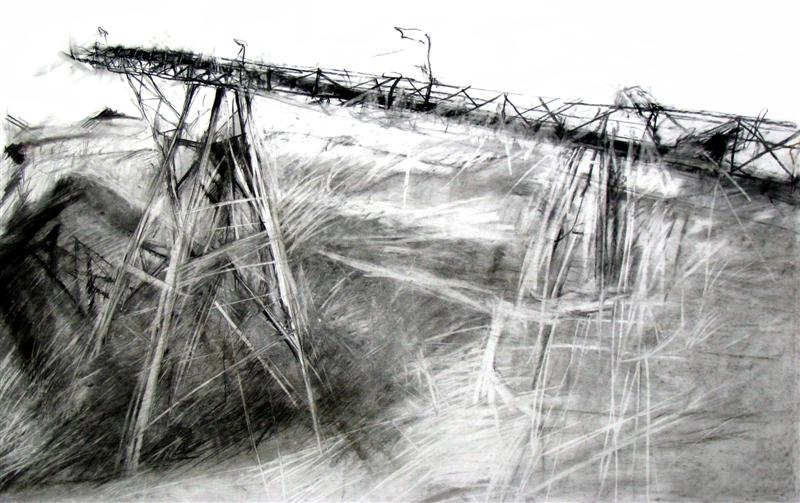 Earthscars: De Beers hole Earth moving crane, 2005. Mixed media on cotton rag archival paper, 120 x 80 cm