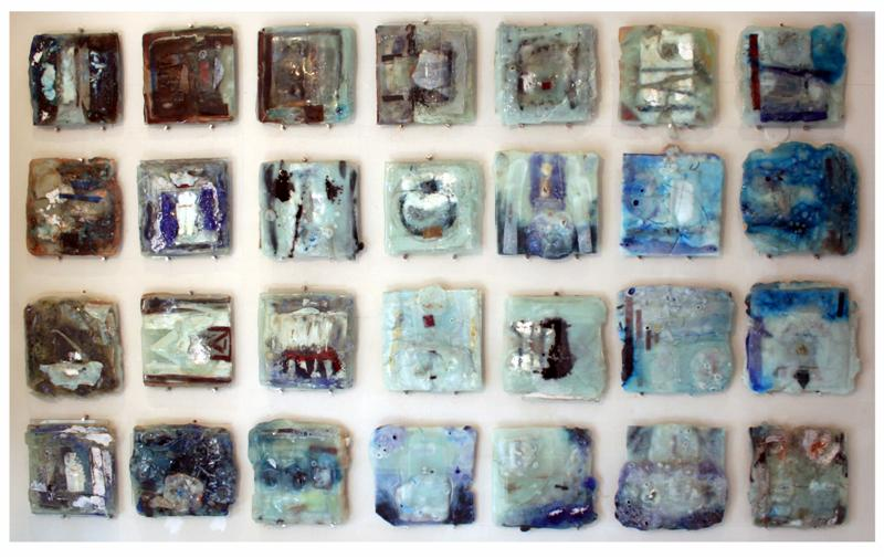 Earth crust glass wall, 2007. Mixed media. 280 x 170 cm