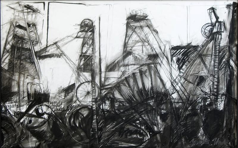 Headgear: What is above is below. Charcoal on corton rag archival