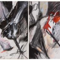 Sentences: After the attack. Mixed media drawing, 800 cm