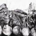 Cape Town industrial landscape, 2009. Triptych, mixed media on cotton rag archival paper, 250 cm x 150 cm