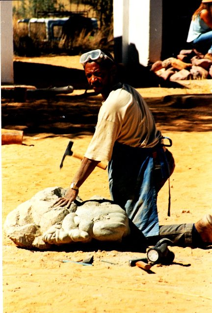 Cultural exchange - Joe Madisia at 1995 Tulipamwe International Artists Workshop held at Dordabis in Namibia