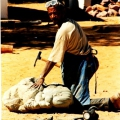 Cultural exchange - Joe Madisia at 1995 Tulipamwe International Artists Workshop held at Dordabis in Namibia