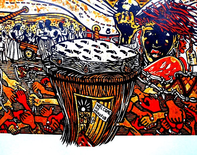 Sounds of the African Drum 2009 - Cardboard print - afh.org.za and Durban University of Tech