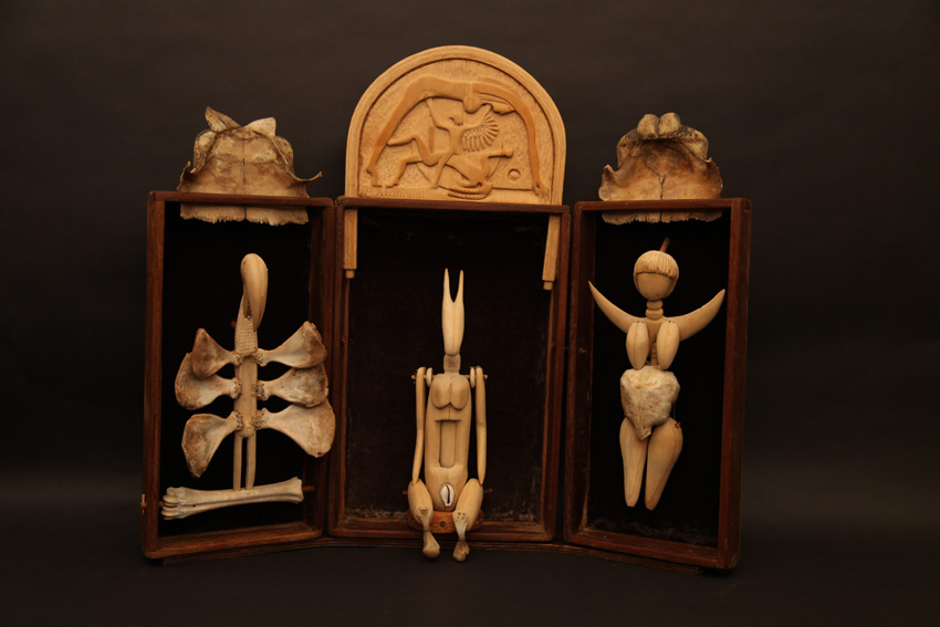 The Altar - The Triptych (detail), 2012. Wood, beads, wax string, bones, tortoise shell and cloth