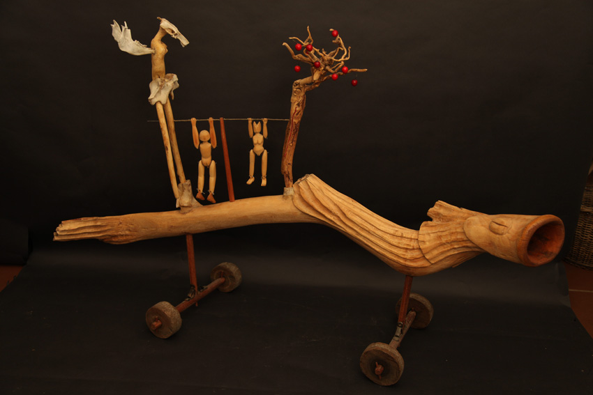 The Apple Tree in Eden, 2012. Wood, bone, beads, leather and baubles