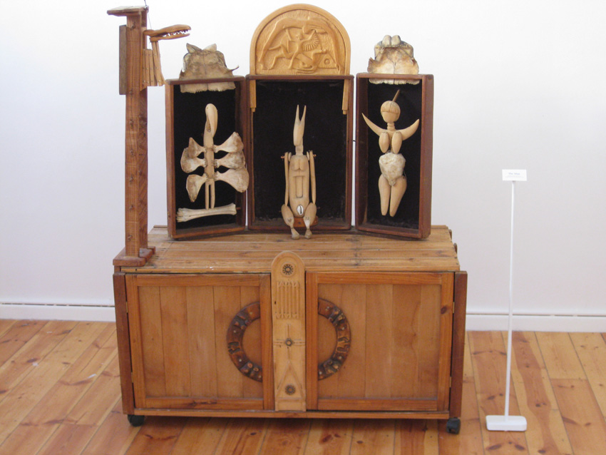 The Altar, 2012. Wood, beads, bones, tortoise shell, cloth, wax string and mirror