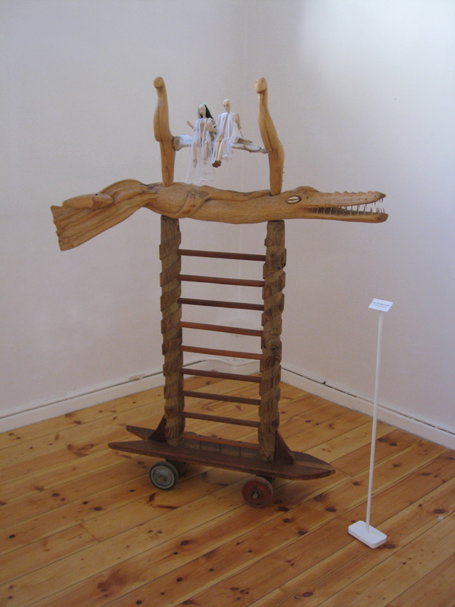 The Marriage Tower, 2012. Wood, bone, shells, leather, cloth and found objects